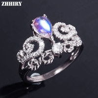 ZHHIRY Real Natural Moonstone Ring Solid 925 Sterling Silver For Woman Genuine Gemstone Rings Girl Fine Jewelry