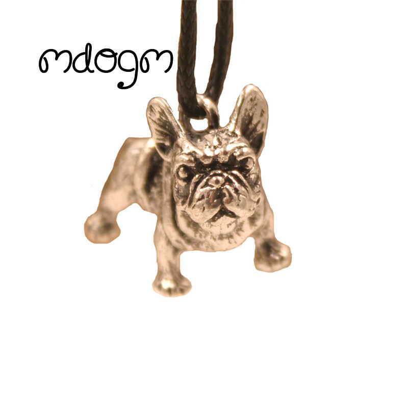 2018 New French Bulldog Dog Pendant Rope Necklace Antique Gold Silver Plated Jewelry For Women Male Female Punk Cartoon Fashion