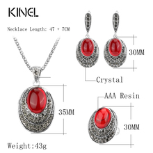 Kinel Fashion Oval Red Jewelry Sets For Women Ancient Silver Color Retro Necklaces Rings And Earrings Crystal Gift 2017 New