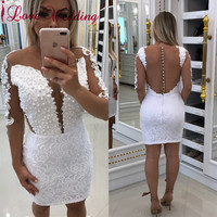 New Fashion 2018 Sheer Scoop Collar Lace Applique Pearl Beaded Three Quater Sleeves White Cocktail Dress Party