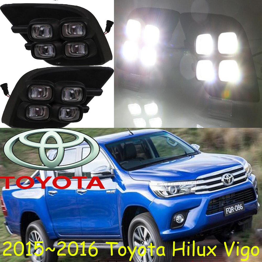 ФОТО revo fog lamp,Waterproof LED car drl Daytime Running Lights accessories For TOYOTA HILUX VIGO CHAMP 2015 2016 year