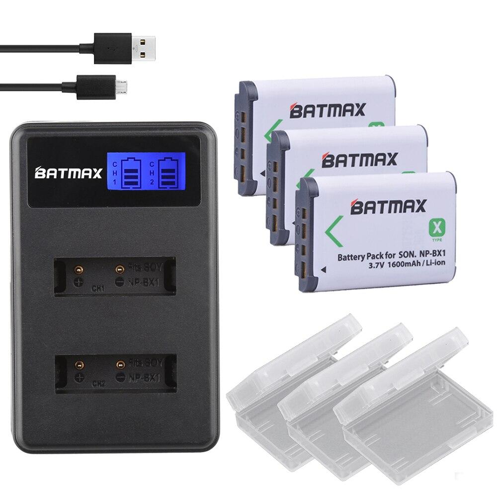 3Pcs NPBX1 NP-BX1 NP BX1 Battery Packs + LCD Dual USB Charger for Sony DSC RX1 RX100 AS100V M3 M2 HX300 HX400 HX50 HX60 GWP88