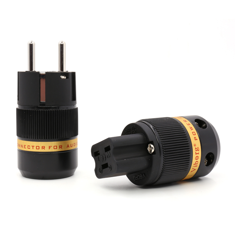 цены Free shipping Pair Viborg VE501R+VF520R 99.999% Pure Copper Rhodium plated EU Male & 20A IEC Female power Plug Connector