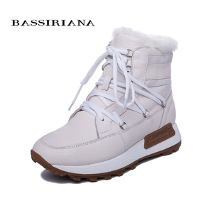 Image 3 - BASSIRIANA new winter casual shoes with thick soles, ladies fashion natural leather natural fur shoes warm with flat sole