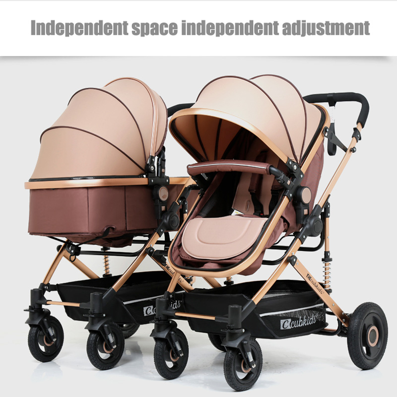 Twin baby detachable seats can lie high landscape lightweight easy to fold strollerTwin baby detachable seats can lie high landscape lightweight easy to fold stroller