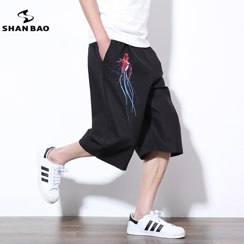 SHNA BAO brand clothing Chinese style pattern embroidery mens loose casual cropped pants 2018 summer fashion linen black pants