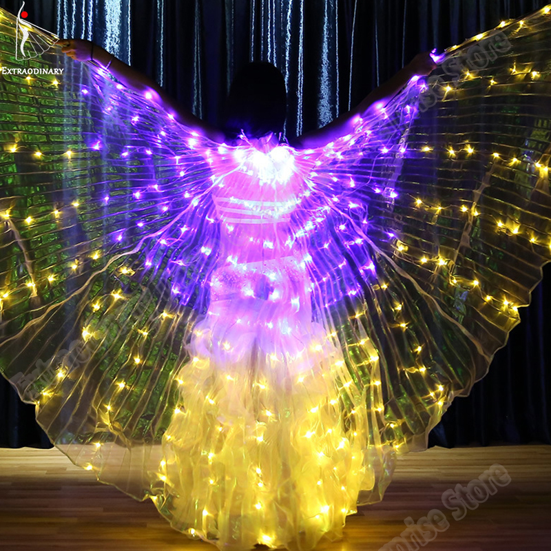 New Isis Wings LED Belly Dance Accessories Performance Prop Light Up Lamp Women LED Butterfly Wings Isis Multicolors 360 Degrees