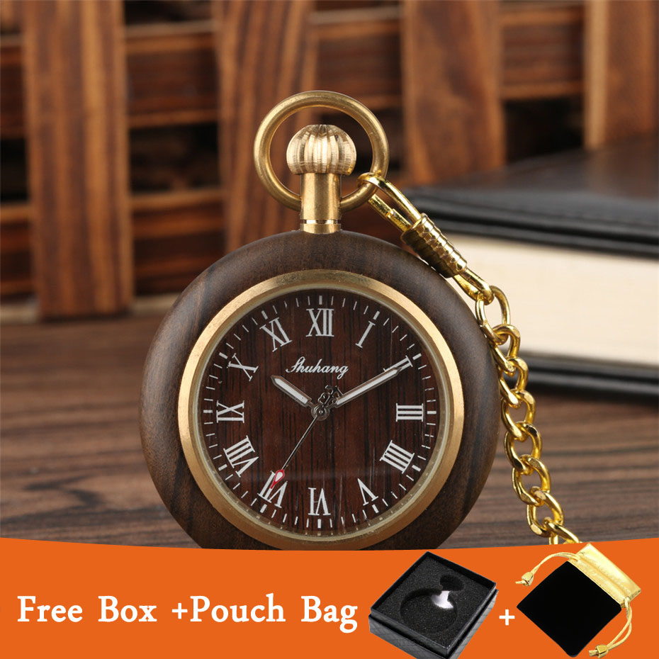 Classic Roman Numerals Display Wood Watch Men Women Quartz Fob Pocket Watch Open Face Golden Steampunk Pendant Chain With Box