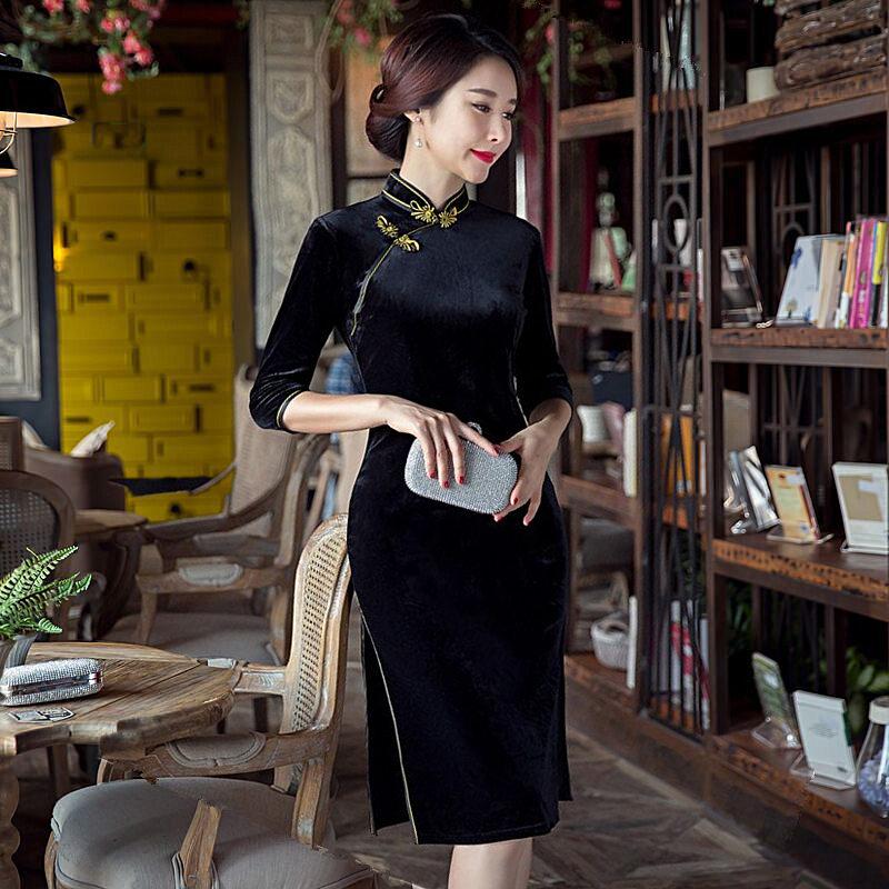 a8f56fa18db Negro mini style mujeres velour cheongsam Venta caliente china tradicional  qipao vestido elegante tamaño S m L XL XXL XXXL 1275812