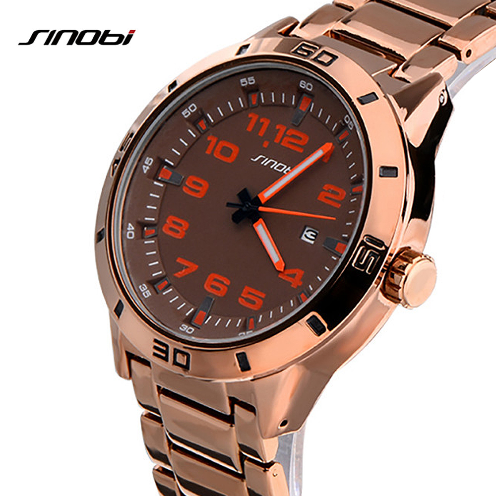 SINOBI Luxury Brand Watch Men Sport Watches Military Wristwatch Casual Steel Quartz Watches Male Clock Relogio Masculino Saat archos 40d titanium