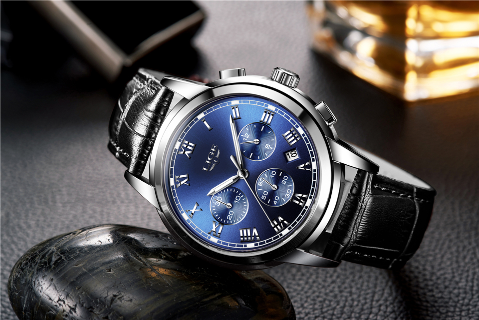 blue Chronograph Men Sports Watch Waterproof