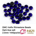 2mm ss6  sapphire color DMC hot fix rhinestones flat back rhinestones 1440 pcs HighQuality Free shipping