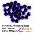 2mm ss6 sapphire cor DMC hot fix strass strass costas retas de 1440 pcs de Alta Qualidade Frete grátis