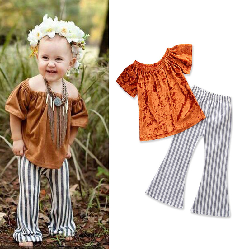 Baby Clothes Sets New Summer Girls Clothes Gold Velvet Word Shoulder Tops Short Sleeve+Striped Flared Pants 2pcs Kids Clothes
