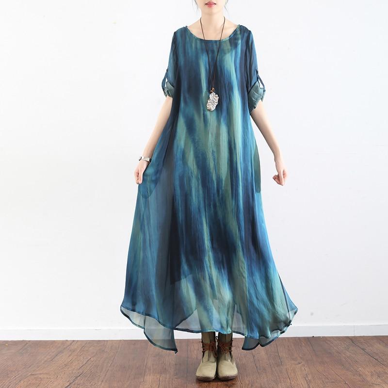 Johnature Women Dress High Quality 2019 Summer New Tie Dye Seven Sleeve O Neck A Line
