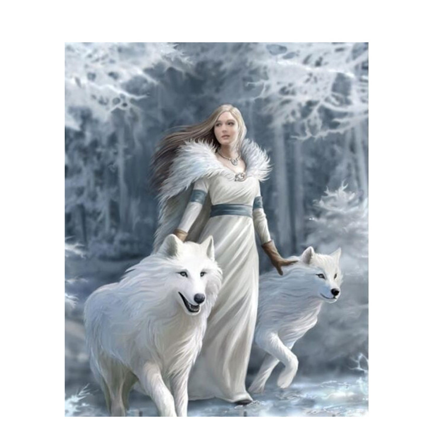 DIY Digital Painting By Numbers Package Snow Wolf girl oil painting mural Kits Coloring Wall Art Picture Gift frameless