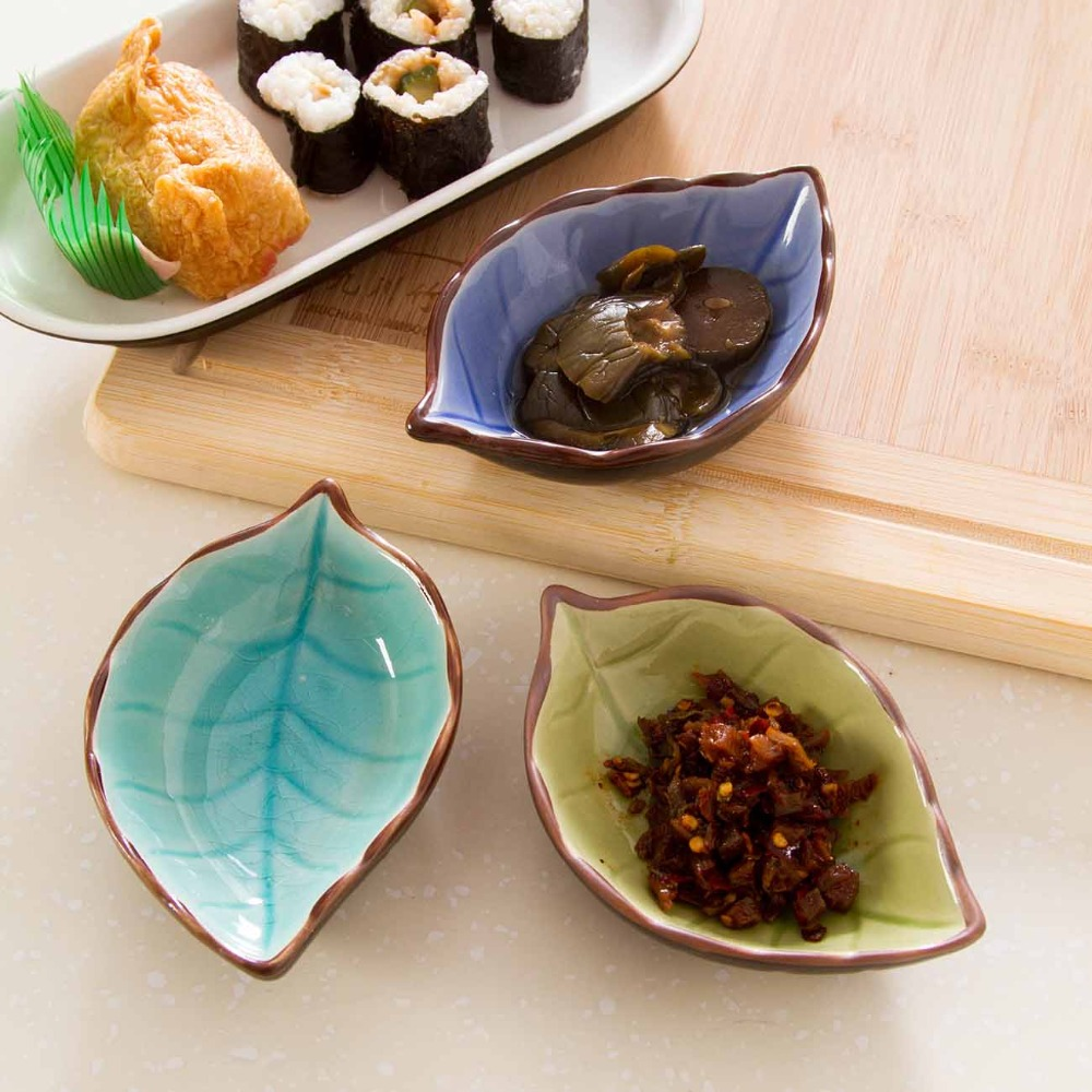 OTHERHOUSE Leaf Shape Ceramic Plate Seasoning Sauce Dish Snack Desser Plates Sushi Dishes Flavor Tray Kitchen Tableware Saucer
