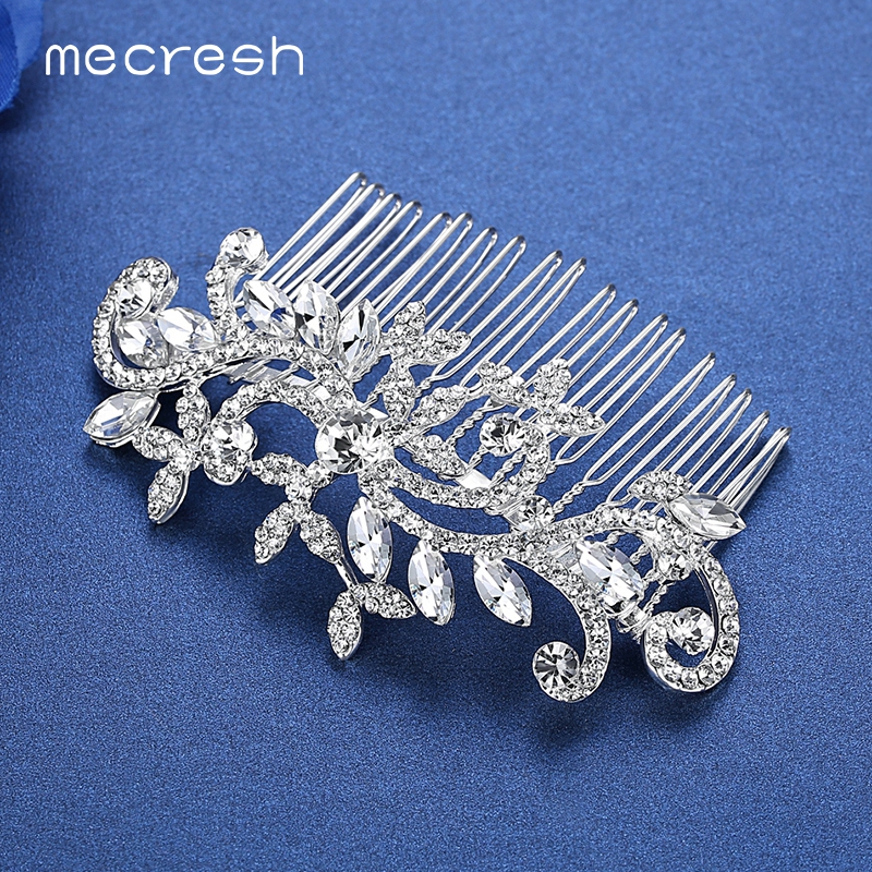 Mecresh Flower Crystal Wedding Hair Accessories Silver Color Bridal Hair Combs Crown Tiara European Jewelry Christmas Gift FS001