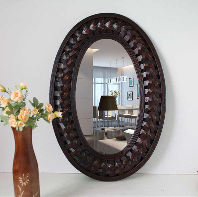 Big Wall Mirror Bamboo And Wooden Frame Oval Wall Mirror Living Room Mural Hanging Big Wall Mirror For Home Decoration Aliexpress