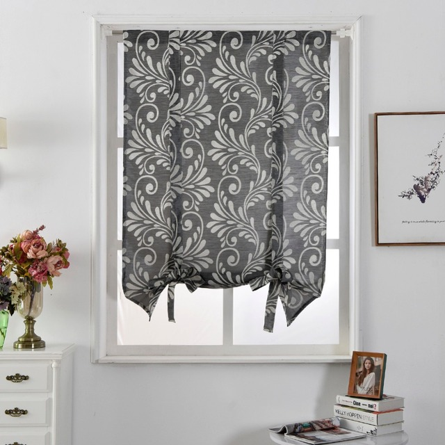 Free Shipping Luxury Kitchen Jacquard Roman Balloon Blinds Style Pocket Curtains Modern Thick Curtain Rod