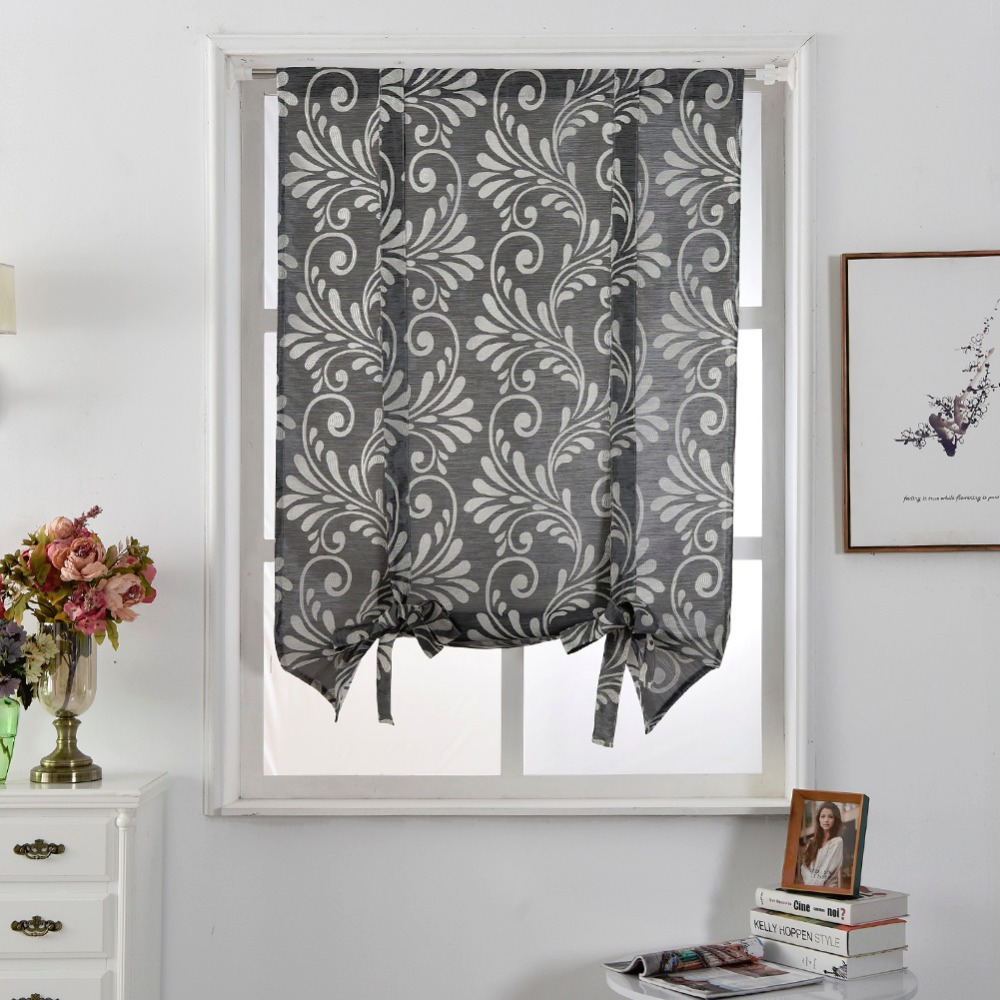Free Shipping Luxury Kitchen Jacquard Roman Balloon Blinds Style Pocket Curtains  Curtains Modern Thick Curtain Rod