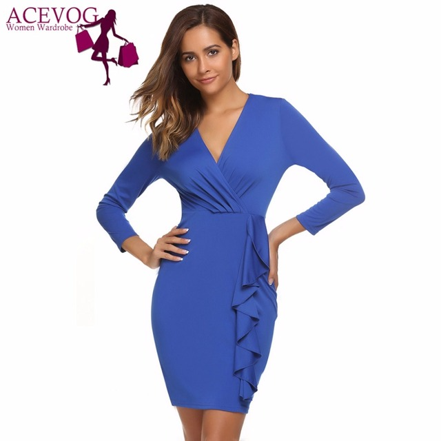 ACEVOG Women s Deep V-Neck Bodycon Pencil Dress Long Sleeve Ruffles Summer  Autumn Feminino Vestidos Cocktail Party Femme Robe 1d10d79a1