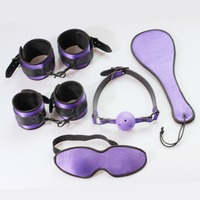 5 items in 1 set Adult sex beginner restraint kit: Hand cuffs, Ankle cuffs, Oral sex gag, Blindfold and spanking paddle