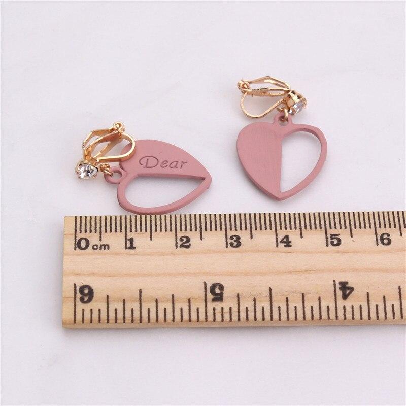 GRACE JUN New Arrival Rhinestone Heart Shape Clip on Earrings Non Piercing for Women Fashion Luxury No Hole Earrings Good Gift