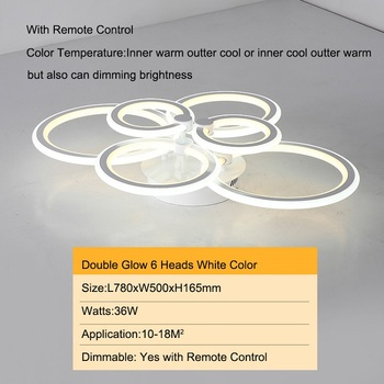 Double Glow Modern led chandelier for living room bedroom study room remote controller dimmable ceiling chandelier AC90-260V 14