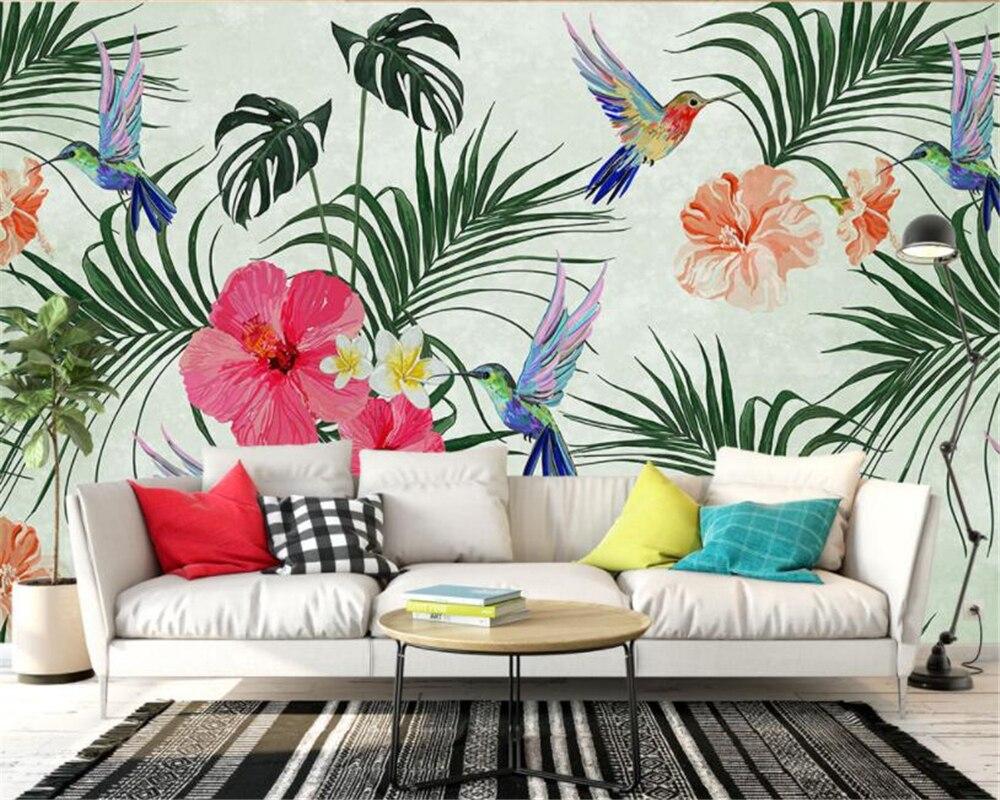 Купить с кэшбэком Custom Photo Wallpapers Hand Painted Watercolor Tropical Leaves Birds TV Sofa Background wall sticker 3D wallpaper beibehang