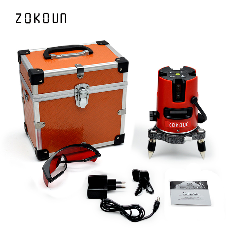 EU plug Zokoun beautiful tilt functional 360 degree rotary 5 lines 6 points laser level available with laser receiverEU plug Zokoun beautiful tilt functional 360 degree rotary 5 lines 6 points laser level available with laser receiver