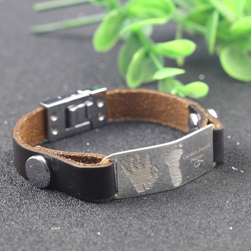 Men Bracelet New Fashion 925 Solid Silverl Bracelets Brown Leather Engrave Handprints And Hootprints Jewelry For Birthday Gift In Charm From