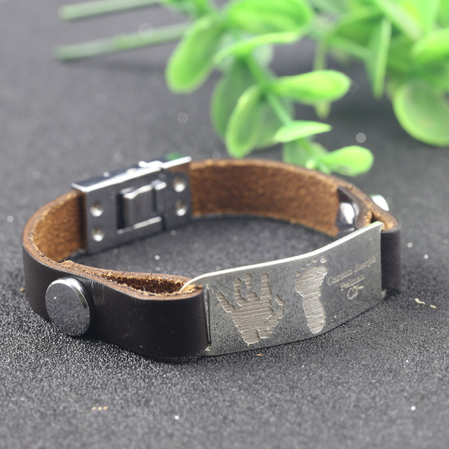 6f6f258f81df4 Men Bracelet New Fashion 925 Solid Silverl Bracelets Brown Leather Engrave  Handprints and Hootprints Jewelry For Birthday Gift-in Charm Bracelets from  ...