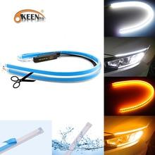OKEEN 2x Ultrafine 30cm 45cm 60cm DRL Flexible LED Tube Style Turn Signal Lamps Daytime Running Lights Tear Strip Car Headlight