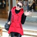 El envío libre 2016 otoño y el invierno de la señora Mujeres Chaleco Delgado chaleco de algodón de moda con capucha de down algodón Chaleco Femenino abrigo