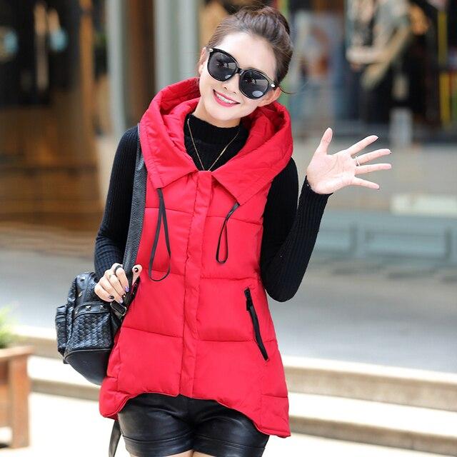 O envio gratuito de 2016 outono e inverno senhora Veste As Mulheres casaco Fino moda colete de algodão com capuz para baixo do Colete de algodão Feminino