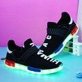 Сетка Освещенные Обувь Для Взрослых Светящиеся 7 Цветов Led USB Chaussure Lumineuse De Hombre Licht Schoenen Superstar Спорт Бегун Ходить
