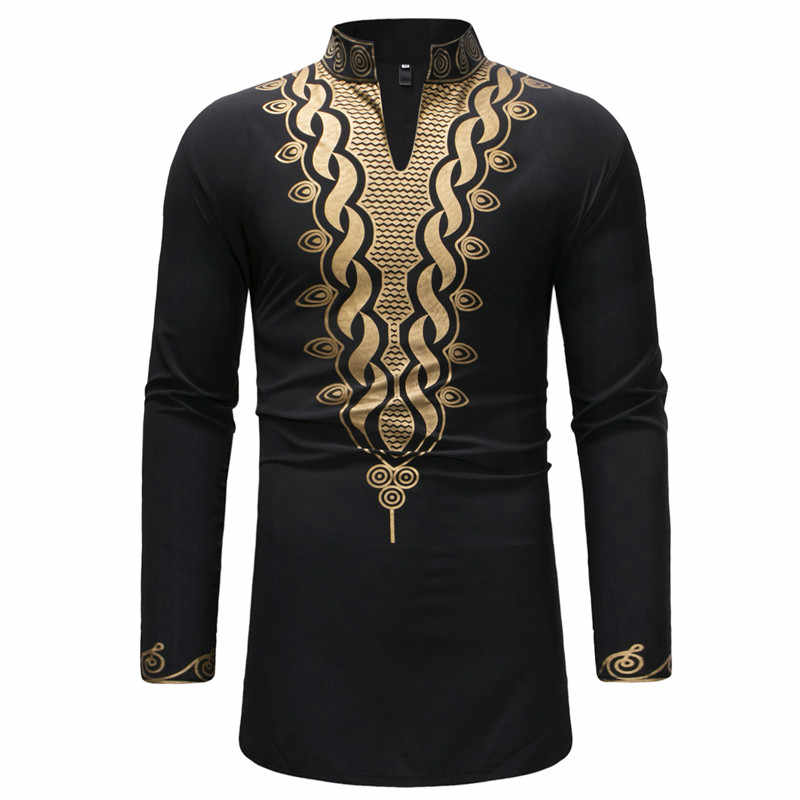 Africa Dashiki Print Dress Shirt Men 2018 Fashion V Neck African Clothes Men Hipster Hip Hop Streetwear Shirt Male Chemise Homme