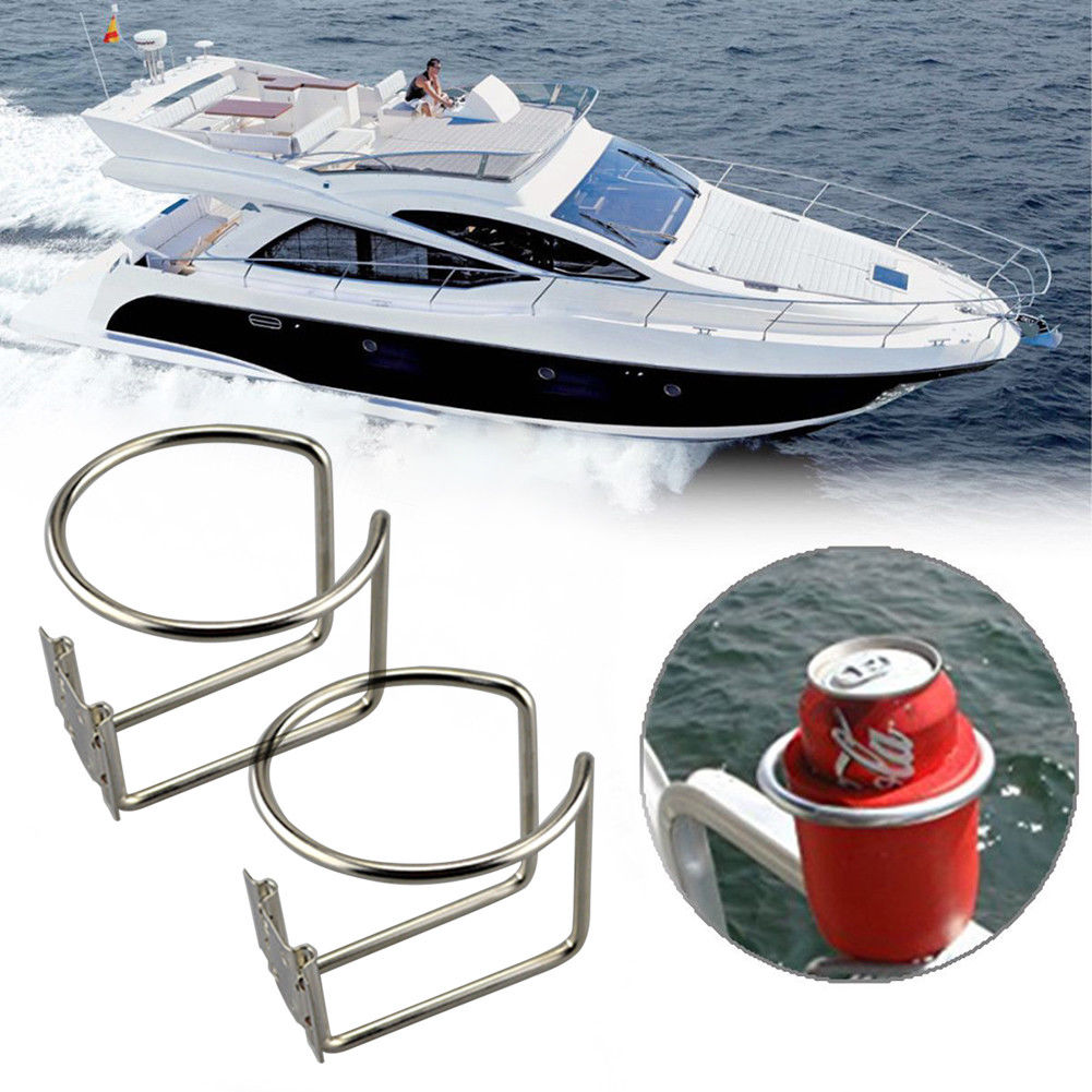 2Pcs New Hot Car Ring Cup Holder Stainless Steel Water Drink Beverage Bottle Stand Holder For Marine Boat Yacht Truck RV outdoor stainless steel hip belt clip water drink bottle holder 12 piece