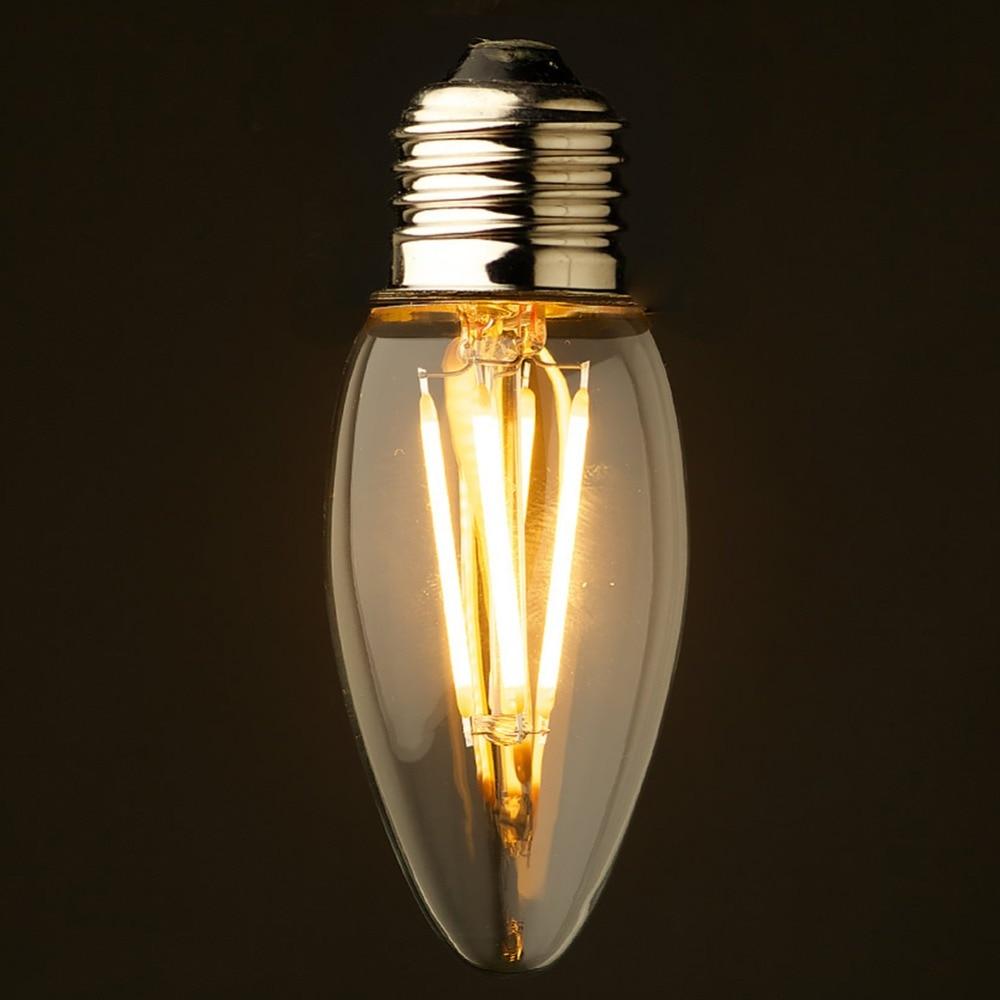 4w 6w retro led filament light bulb cool warm white e26 e27 base chandelier c35 candle ampoule. Black Bedroom Furniture Sets. Home Design Ideas