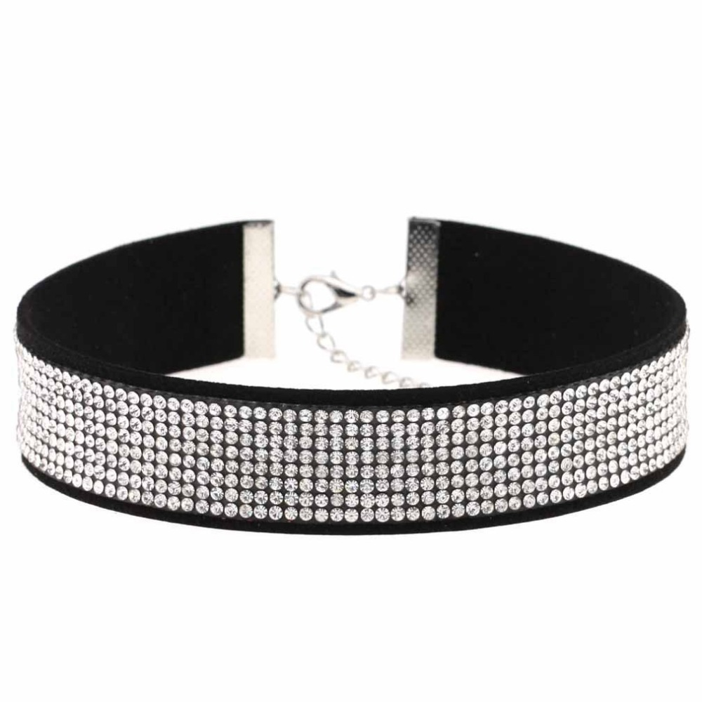 2017 Black Leather Velvet Rhinestone Choker Necklace Women Crystal Choker Statement chocker collar fashion jewellery