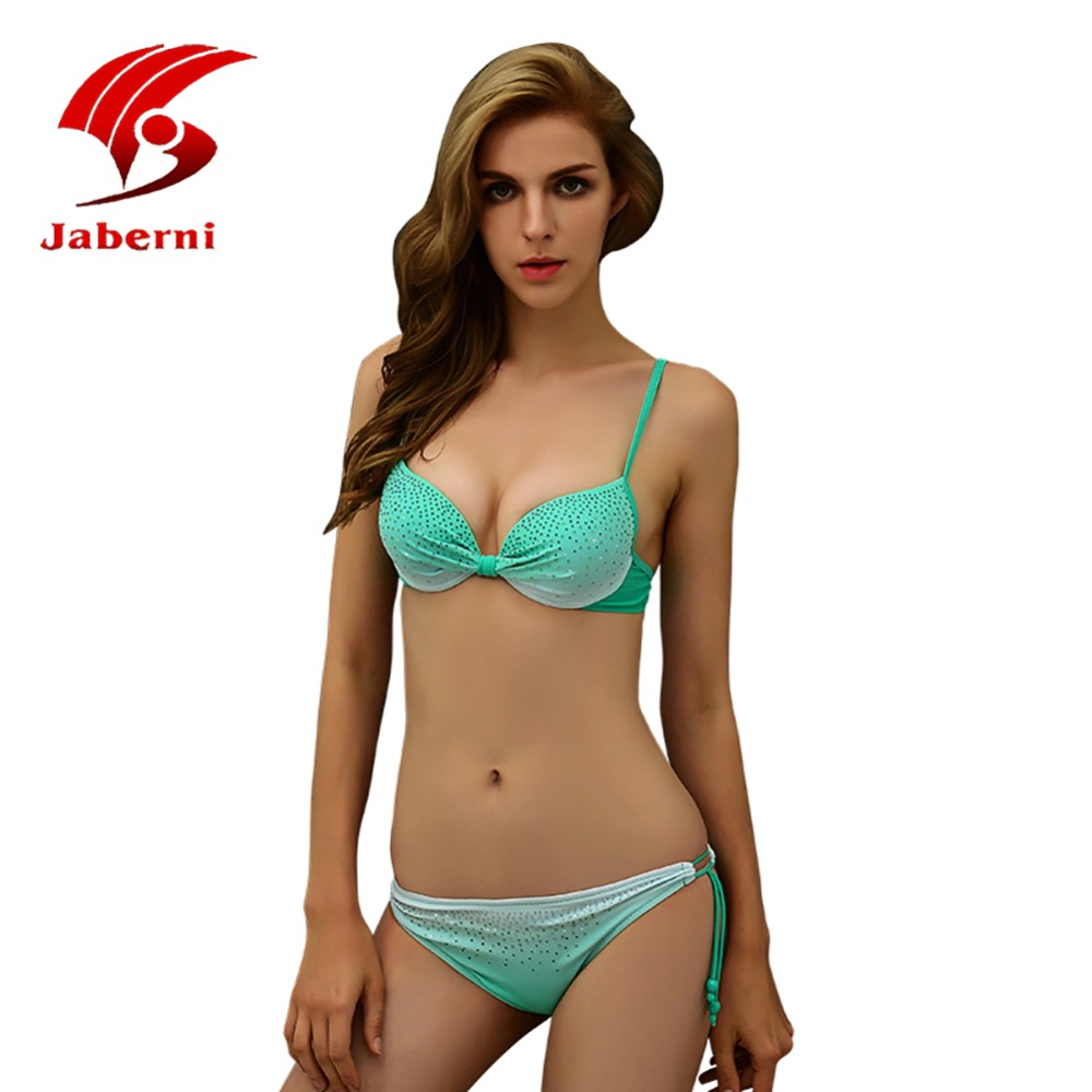 2016 Sexy Bikini Push Up Solid Female Swimsuit Diamond Beachwear Strappy Bathing Suit Women Plus Size Swimwear XXL AL18010 sexy plunging neck push up plus size solid color bathing suit for women