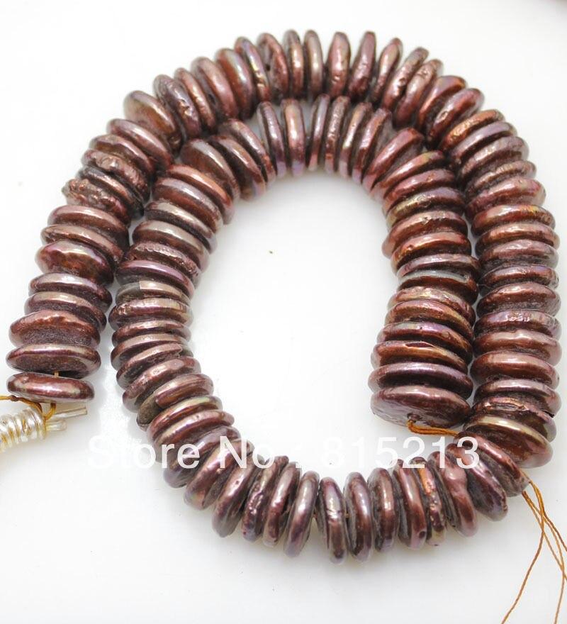 LIVRAISON GRATUITE >@@> N409 3-4mm * 15-16mm cordes coin perles brun lâche perles collier peut choisir