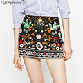 M.H.Artemis Women A-Line Mini Ethnic Colorful Skirt embroidery black floral short skirt girls 90's mini skirts Boho chic style