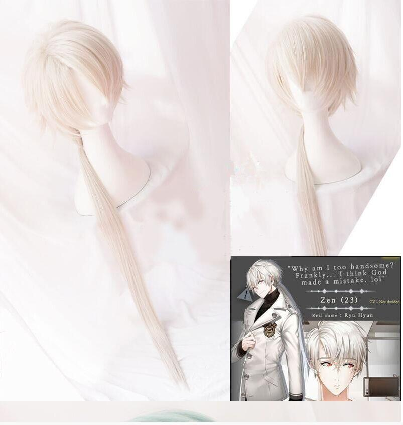 Game Mystic Messenger  Zen Cosplay Wigs Long Straight Heat Resistant Synthetic Hair Wig + Wig Cap
