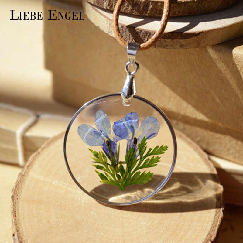 LIEBE ENGEL Charms Real Natural Dried Flower Necklace Round Glass Pendant Necklace For Women Gift Vintage Jewelry Wholesale