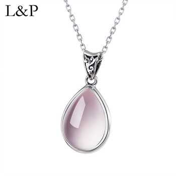 L&P Elegant Rose Quartz Pendant For Lady Authentic 925 Sterling Silver Water Drop Gemstone Pendant Necklace Fine Jewelry Gift