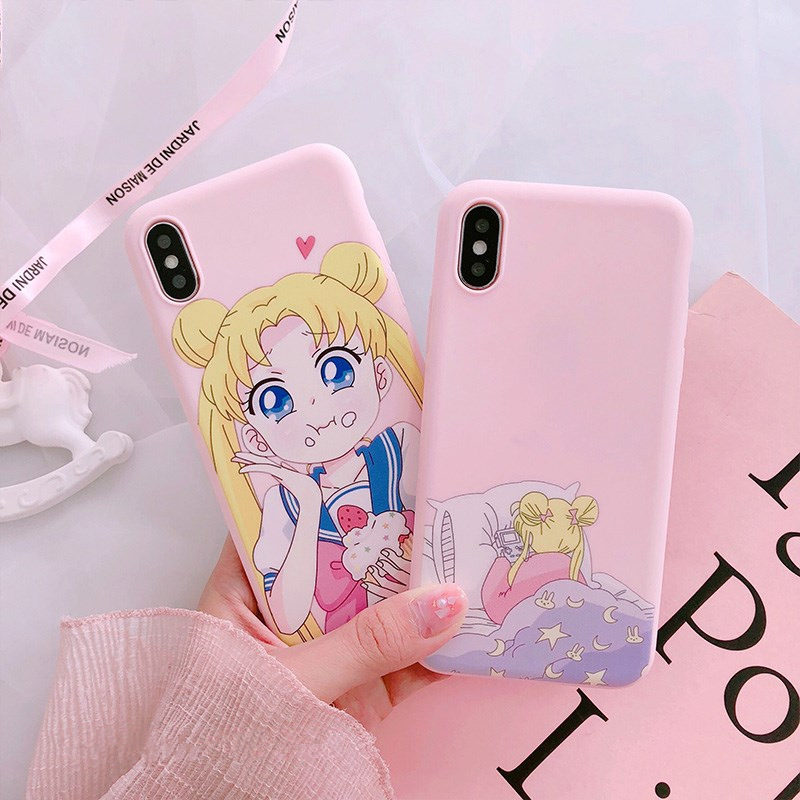 Pink Japanese Anime Kawaii Sailor Moon Phone Case For iPhone 6 6 Puls 6S 7 8 Puls X Cases TPU Soft  Back Cover Coque