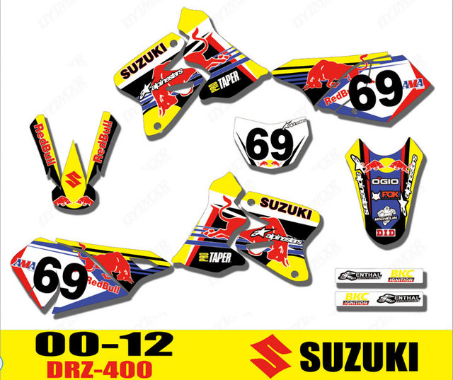 US $46 54 5% OFF|Motorcycle Team bike 3M Graphics Stickers Background  Decals For ALL YEAR SUZUKI DRZ400 DRZ400S DRZ400E DRZ400SM DRZ 400 -in Car