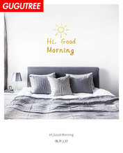 Decorate good morning night letter art wall sticker decoration Decals mural painting Removable Decor Wallpaper LF-107